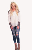 Long Sleeve Ivory Lace-up Top with Shoulder and Cuff Detailing