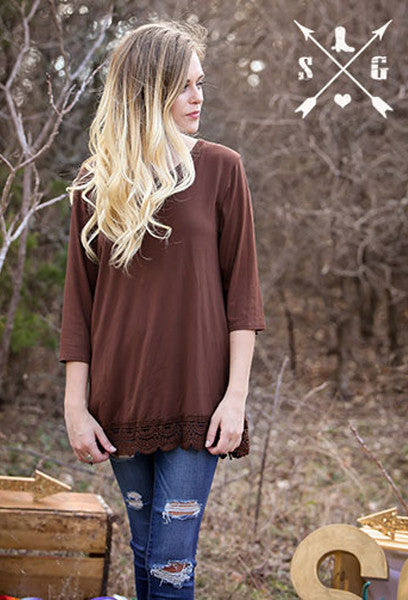 Adults Brown Solid 3/4 Sleeve Raglan with Crochet Lace Trim