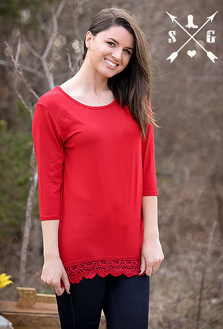 Adults Red Solid 3/4 Sleeve Raglan with Crochet Lace Trim
