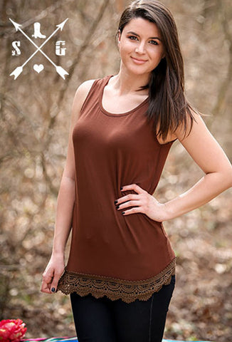 Adults Brown Solid Tank with Crochet Lace Trim