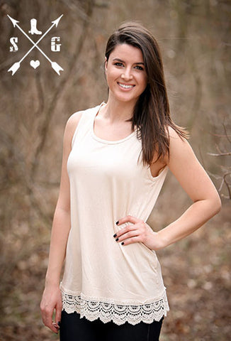 Adults Ivory Solid Tank with Crochet Lace Trim
