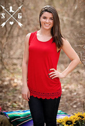 Adults Red Solid Tank with Crochet Lace Trim