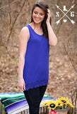 Adults Royal Blue Solid Tank with Crochet Lace Trim