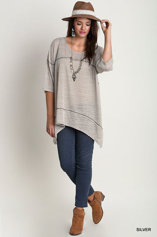 Relaxed Fit Square Stitching Tunic, Silver, PLUS*