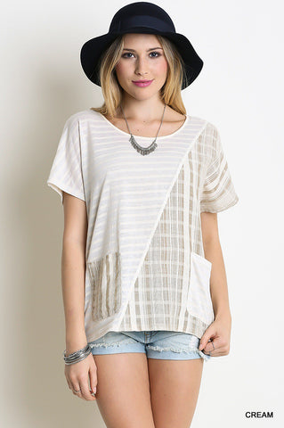 Opposites Attract Striped Top, Cream