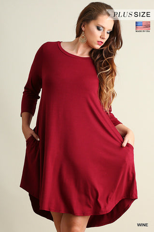 Scoop Neck T-Shirt Dress with Pockets & Scalloped Hemline, Wine, PLUS*