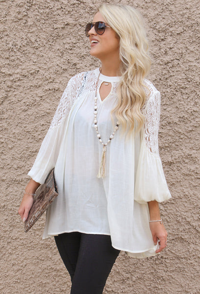 Key Hole Top with Lace Details, Ivory