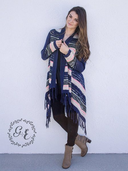 Striped Long Sleeve Sweater Cardigan, Navy