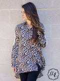 Lorelai's Leopard Button-Up Tunic with Cream Lace Embroidery Accent