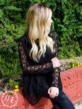 Sheer Lace Flower Blouse, Black