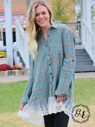 Tessa's Teal & Brown Plaid Button-Up Tunic with Lace Trim Accent