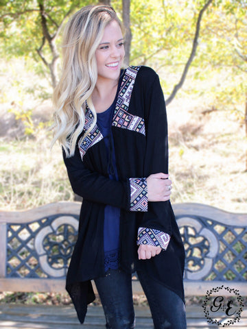 Ava's Aztec Embroidered Open Blouse, Midnight Black