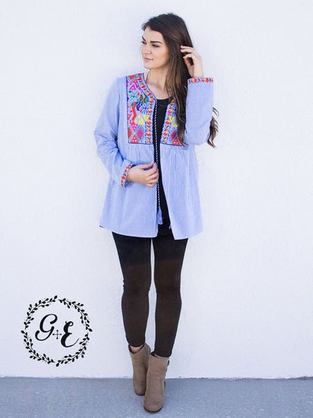 Emma's Embroidered Blue & White Striped Open Blouse