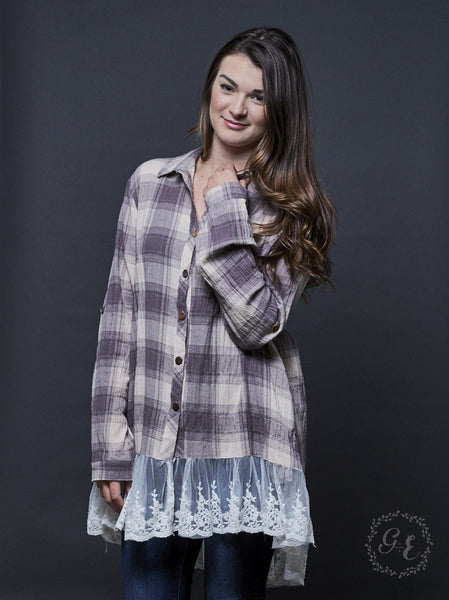 Gabrielle's Grey Plaid Button-Up Tunic with Lace Trim Accent