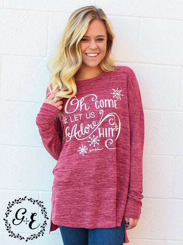 Oh Come Let Us Adore Him Long Sleeve Heathered Sweater