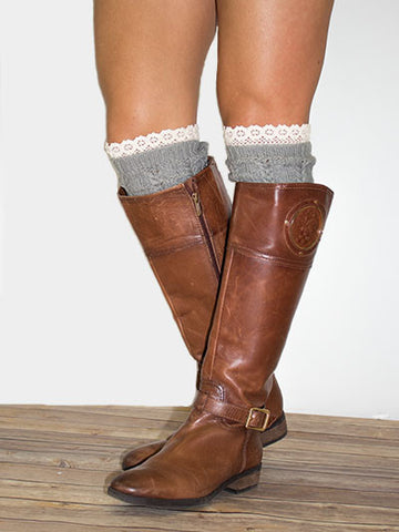 Grey Knit Boot Topper with Lace