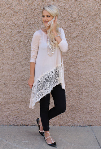 Asymmetrical Tunic with Lace Details