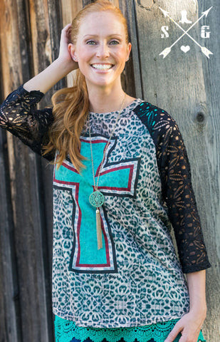 Lisa's Cross on Leopard Raglan