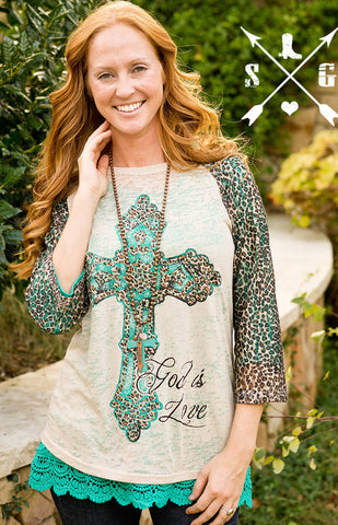 God Is Love Cross Raglan with Leopard Sleeves