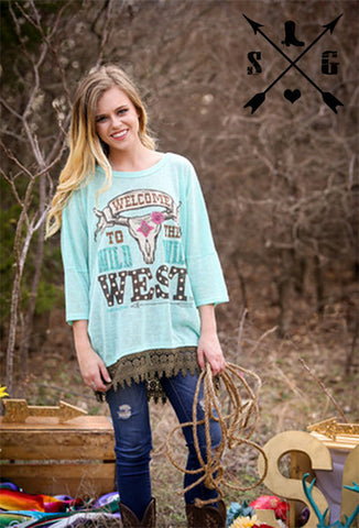 Adults Wild Wild West Tunic, Light Blue