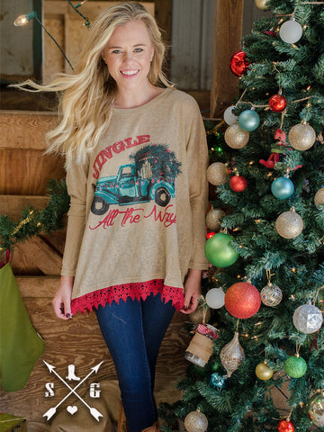 Jingle All The Way Tunic with Red Lace Bottom