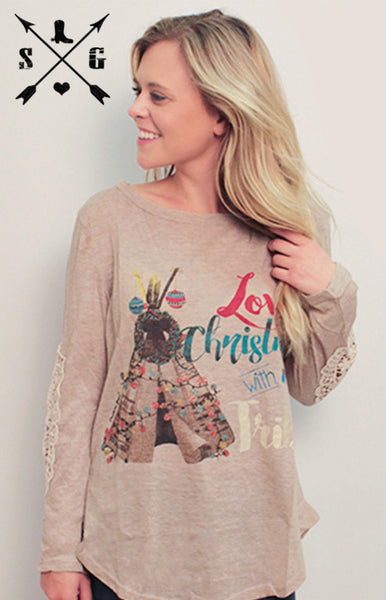 Love Christmas With My Tribe Tan Sweater with Patched Lace Sleeve Accent