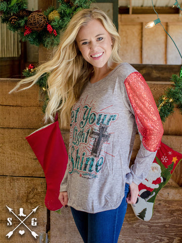 Let Your Light Shine Grey Tee with Red Sequin Elbow Patches