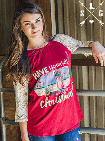 Have Yourself a Merry Little Christmas Camper Maroon Raglan with Lace Sleeves