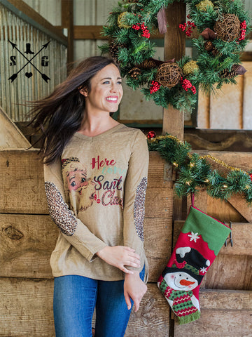Here Comes Santa Claus on Tan Shirt with Cheetah Lace Elbow Accent Sleeves