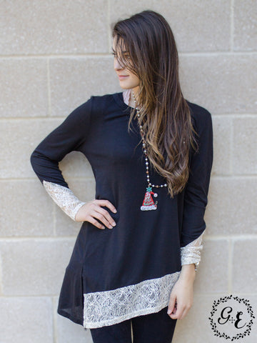 Aleah's Asymmetrical Tunic with Cream Shimmer Trim Accent, Midnight