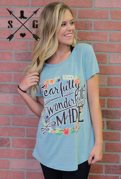 Fearfully and Wonderfully Made Short Sleeve Shirt, Sky Blue