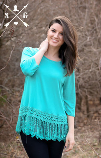 Turquoise Solid 3/4 Sleeve Raglan with Lyla's Lace Trim