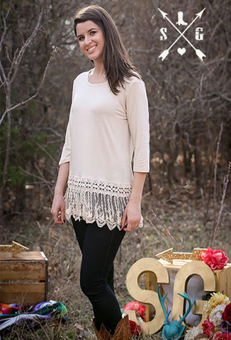 Adults Ivory Solid 3/4 Sleeve Raglan with Lyla's Lace Trim
