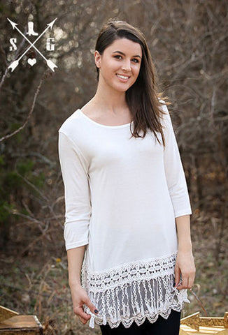 Adults White Solid 3/4 Sleeve Raglan with Lyla's Lace Trim