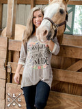 Fearfully and Wonderfully Made Tan 3/4 Sleeve with Lace Trim
