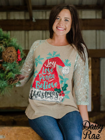 Joy, Love, Peace, Believe, Christmas with Mint Lace Sleeves