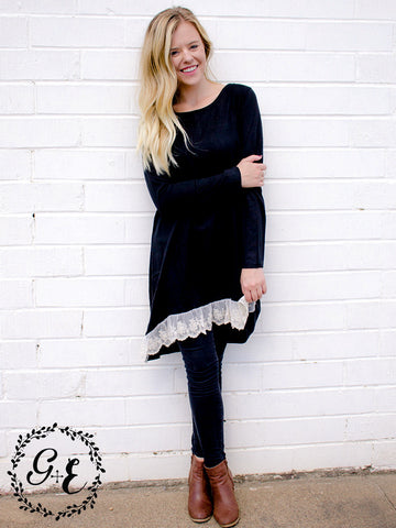 Becca's Black Loose Tunic with Lace Trim