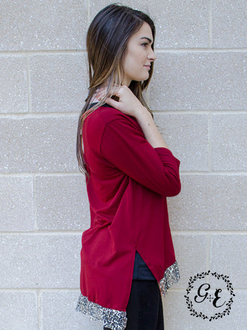 Rebekah's Dark Red Top with Cheetah Lace Trim Accents
