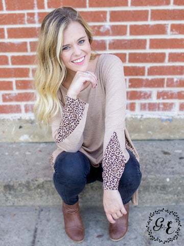 Brooklyn's Loose Beige Tunic with Cheetah Accents
