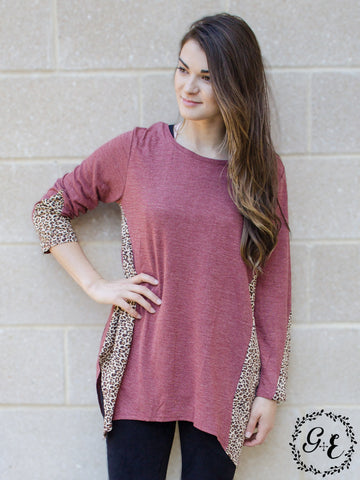 Mia's Maroon Loose Tunic with Cheetah Accents