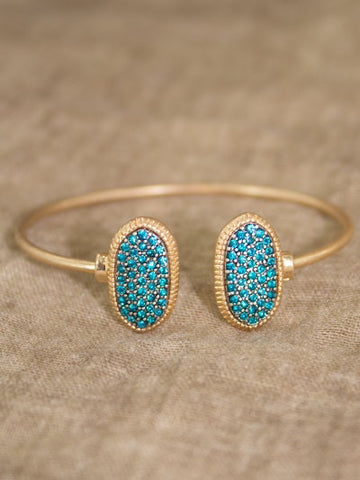 Gold Cuff Bracelet with Teal Stone Accent