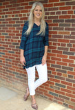 Plaid Boyfriend Tunic, Navy & Green
