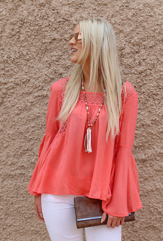 Bell Sleeve Top with Lace Detail, Coral
