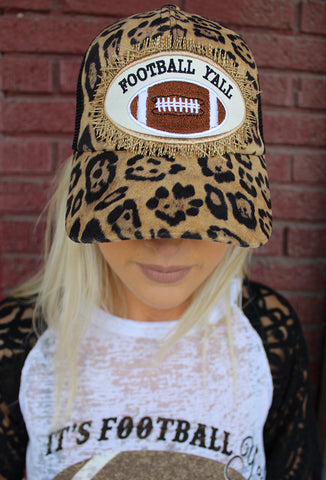 Football Y'all Patch on Leopard Cap