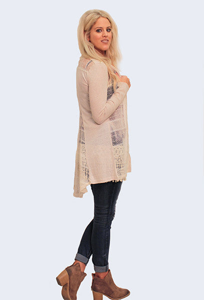 Textured Cotton Button-Up Cardigan, Natural