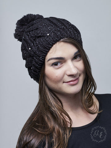 Touch of Sparkle Beanie, Black