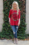 Holiday Hugs and Mistletoe Kisses Sweater in Red