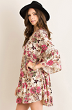 Floral Print Peasant Dress with Crochet Detailing, Berry