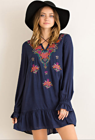 Long Sleeve Peasant Dress with Floral Embroidery, Navy