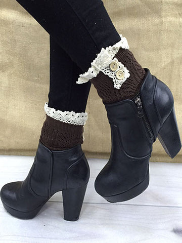 Double Button Brown Socks with Lace Top